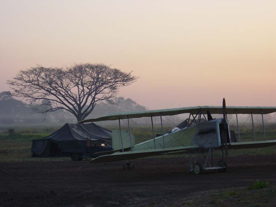 Breguet 14 at sunset on location in Pak Chong.