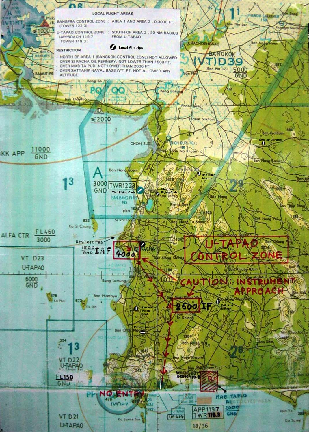 Map of Local Airstrips near Bang PhraChonburiPattaya