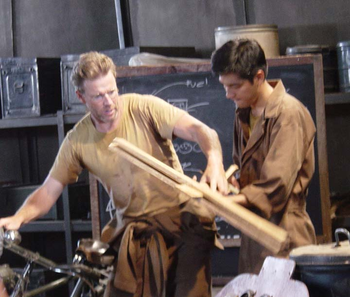 Pierre teaches Duang how to fly by using a bicycle and a wooden model airplane.
